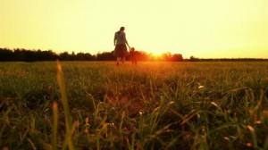 stock-footage-mother-and-baby-are-running-across-the-field-at-sunset-dolly-shot